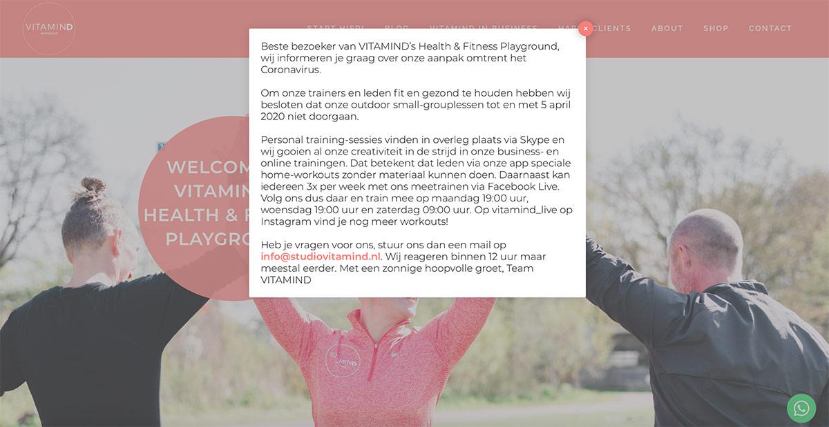 Voorbeeld Corona-melding website door Minturn