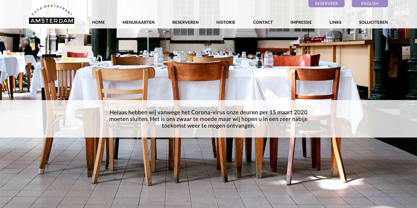 Voorbeeld bericht corona Restaurant Amsterdam