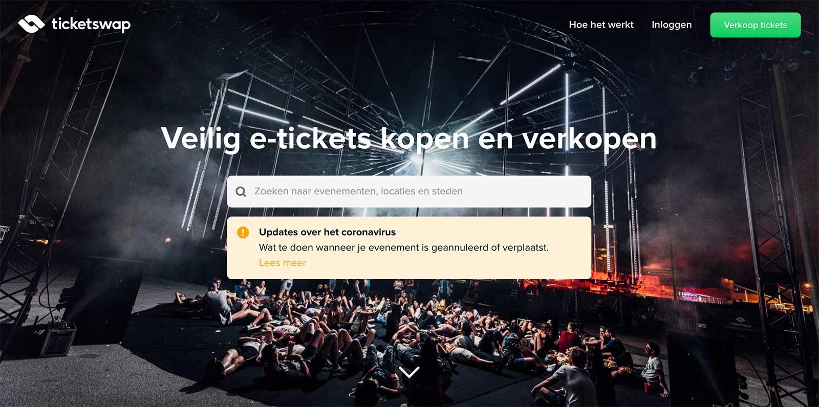 Voorbeeld corona bericht ticketswap